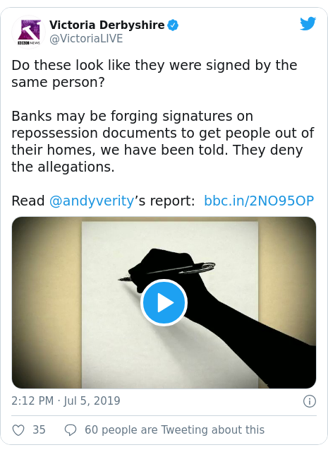 Twitter post by @VictoriaLIVE: Do these look like they were signed by the same person?Banks may be forging signatures on repossession documents to get people out of their homes, we have been told. They deny the allegations.Read @andyverity's report