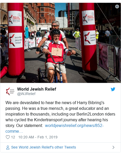 Twitter post by @WJRelief: We are devastated to hear the news of Harry Bibring's passing. He was a true mensch, a great educator and an inspiration to thousands, including our Berlin2London riders who cycled the Kindertransport journey after hearing his story. Our statement