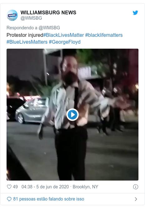 Twitter post de @WMSBG: Protestor injured#BlackLivesMatter #blacklifematters #BlueLivesMatters #GeorgeFloyd