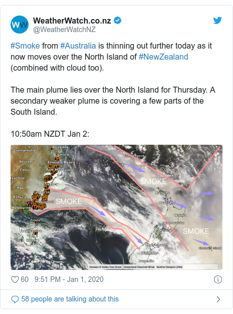 Twitter post by @WeatherWatchNZ: #Smoke from #Australia is thinning out further today as it now moves over the North Island of #NewZealand (combined with cloud too).The main plume lies over the North Island for Thursday. A secondary weaker plume is covering a few parts of the South Island.10 50am NZDT Jan 2