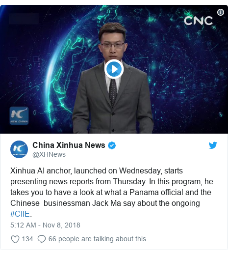 Twitter post by @XHNews: Xinhua AI anchor, launched on Wednesday, starts presenting news reports from Thursday. In this program, he takes you to have a look at what a Panama official and the Chinese  businessman Jack Ma say about the ongoing #CIIE.