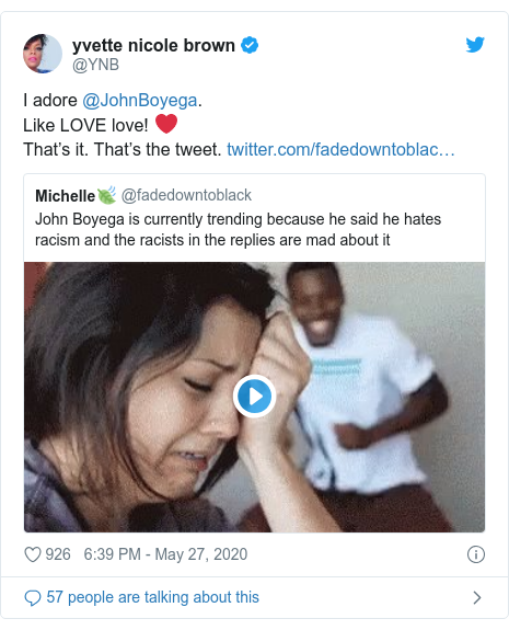 Twitter post by @YNB: I adore @JohnBoyega. Like LOVE love! ❤️That's it. That's the tweet.