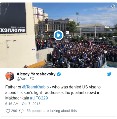 Twitter post by @YaroLFC: Father of @TeamKhabib - who was denied US visa to attend his son's fight - addresses the jubilant crowd in Makhachkala #UFC229
