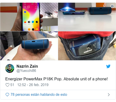 Publicación de Twitter por @Yuecchi86: Energizer PowerMax P18K Pop. Absolute unit of a phone!