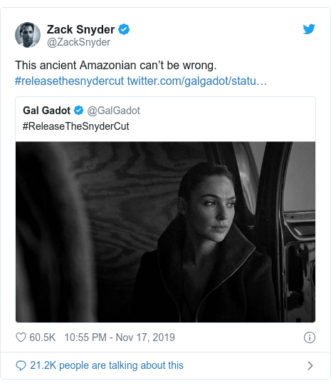 Twitter post by @ZackSnyder: This ancient Amazonian can't be wrong. #releasethesnydercut