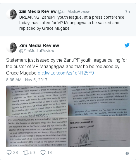 Twitter post by @ZimMediaReview: Statement just issued by the ZanuPF youth league calling for the ouster of VP Mnangagwa and that he be replaced by Grace Mugabe