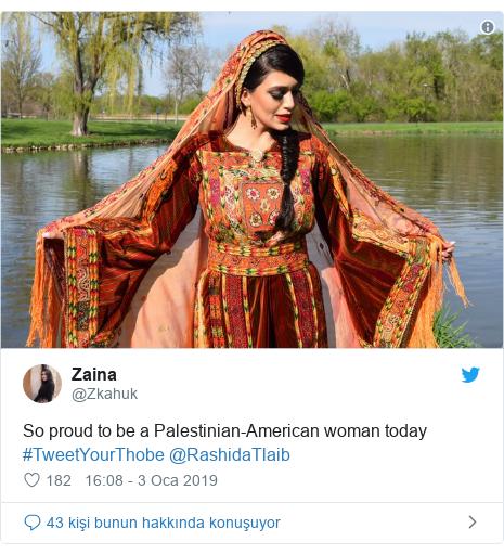 @Zkahuk tarafından yapılan Twitter paylaşımı: So proud to be a Palestinian-American woman today #TweetYourThobe @RashidaTlaib