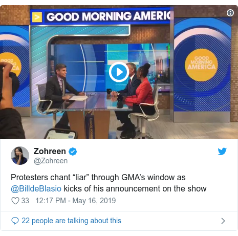 """Twitter post by @Zohreen: Protesters chant """"liar"""" through GMA's window as @BilldeBlasio kicks of his announcement on the show"""