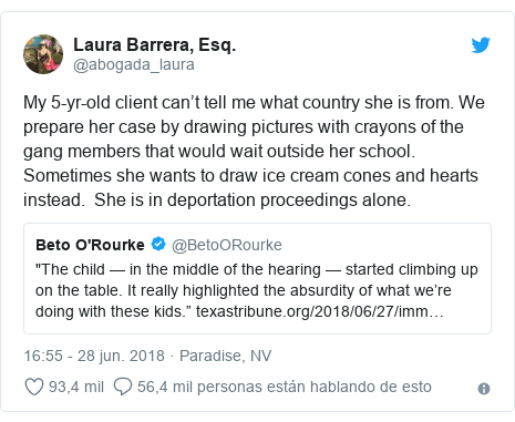 Publicación de Twitter por @abogada_laura: My 5-yr-old client can't tell me what country she is from. We prepare her case by drawing pictures with crayons of the gang members that would wait outside her school. Sometimes she wants to draw ice cream cones and hearts instead. She is in deportation proceedings alone.