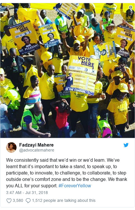 Twitter post by @advocatemahere: We consistently said that we'd win or we'd learn. We've learnt that it's important to take a stand, to speak up, to participate, to innovate, to challenge, to collaborate, to step outside one's comfort zone and to be the change. We thank you ALL for your support. #ForeverYellow