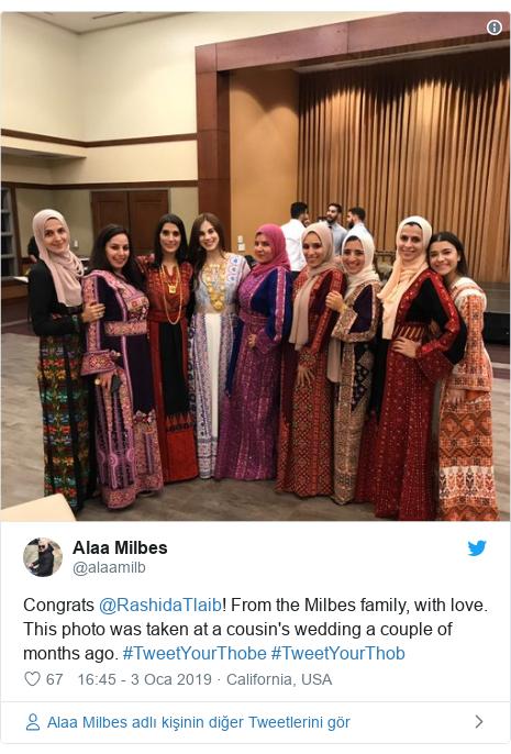 @alaamilb tarafından yapılan Twitter paylaşımı: Congrats @RashidaTlaib! From the Milbes family, with love. This photo was taken at a cousin's wedding a couple of months ago. #TweetYourThobe #TweetYourThob