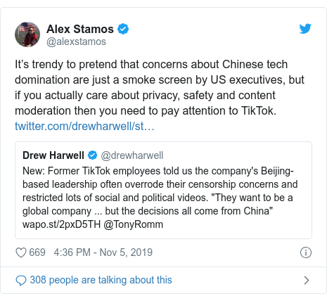 Twitter post by @alexstamos: It's trendy to pretend that concerns about Chinese tech domination are just a smoke screen by US executives, but if you actually care about privacy, safety and content moderation then you need to pay attention to TikTok.