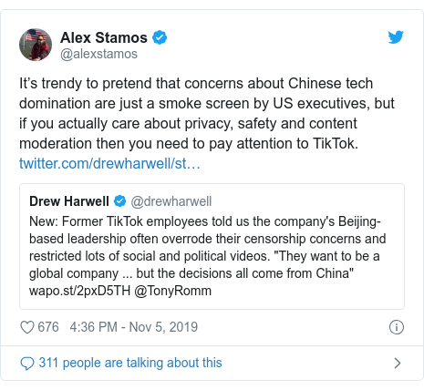 Twitter waxaa daabacay @alexstamos: It's trendy to pretend that concerns about Chinese tech domination are just a smoke screen by US executives, but if you actually care about privacy, safety and content moderation then you need to pay attention to TikTok.