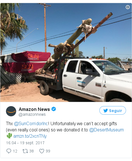 Publicación de Twitter por @amazonnews: Thx @SunCorridorInc! Unfortunately we can't accept gifts (even really cool ones) so we donated it to @DesertMuseum 🌵