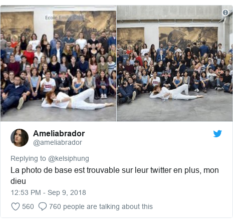 Twitter post by @ameliabrador: La photo de base est trouvable sur leur twitter en plus, mon dieu