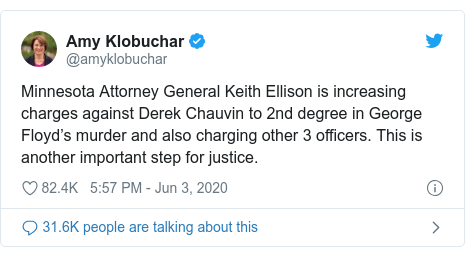 Twitter post by @amyklobuchar: Minnesota Attorney General Keith Ellison is increasing charges against Derek Chauvin to 2nd degree in George Floyd's murder and also charging other 3 officers. This is another important step for justice.