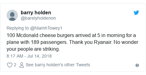 Twitter post by @barelyholdenon: 100 Mcdonald cheese burgers arrived at 5 in morning for a plane with 189 passengers. Thank you Ryanair. No wonder your people are striking.