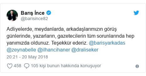 @barisince82 tarafından yapılan Twitter paylaşımı: Adliyelerde, meydanlarda, arkadaşlarımızın görüş günlerinde, yazarların, gazetecilerin tüm sorunlarında hep yanımızda oldunuz. Teşekkür ederiz. @barisyarkadas @zeynabelle @ilhancihaner @draliseker