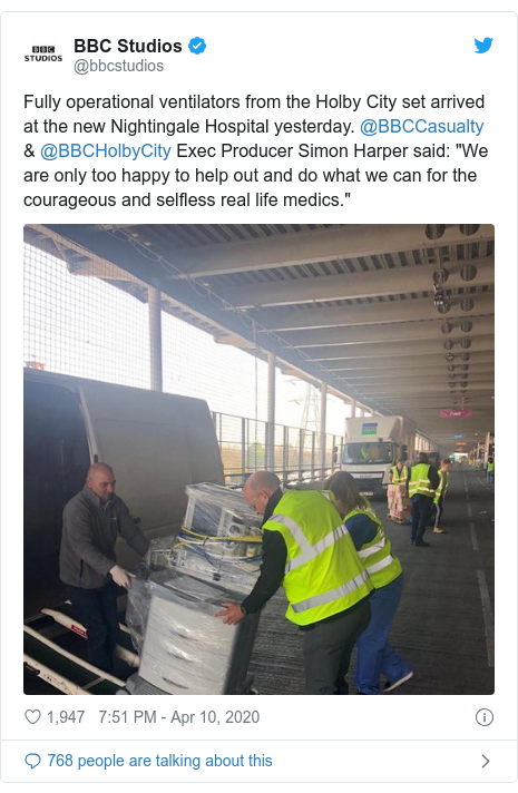 "Twitter post by @bbcstudios: Fully operational ventilators from the Holby City set arrived at the new Nightingale Hospital yesterday. @BBCCasualty & @BBCHolbyCity Exec Producer Simon Harper said ""We are only too happy to help out and do what we can for the courageous and selfless real life medics."""
