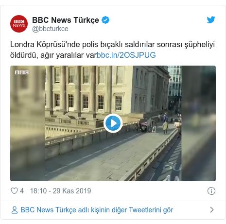 @bbcturkce tarafından yapılan Twitter paylaşımı: Londra Köprüsü'nde polis bıçaklı saldırılar sonrası şüpheliyi öldürdü, ağır yaralılar var