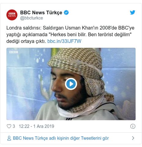 """@bbcturkce tarafından yapılan Twitter paylaşımı: Londra saldırısı Saldırgan Usman Khan'ın 2008'de BBC'ye yaptığı açıklamada """"Herkes beni bilir. Ben terörist değilim"""" dediği ortaya çıktı."""