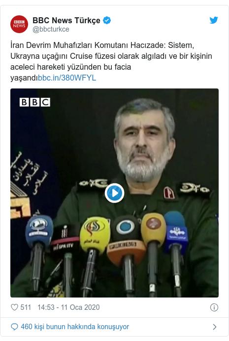 @bbcturkce tarafından yapılan Twitter paylaşımı: İran Devrim Muhafızları Komutanı Hacızade  Sistem, Ukrayna uçağını Cruise füzesi olarak algıladı ve bir kişinin aceleci hareketi yüzünden bu facia yaşandı