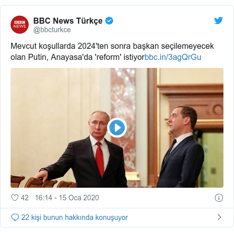 @bbcturkce tarafından yapılan Twitter paylaşımı: Mevcut koşullarda 2024'ten sonra başkan seçilemeyecek olan Putin, Anayasa'da 'reform' istiyor