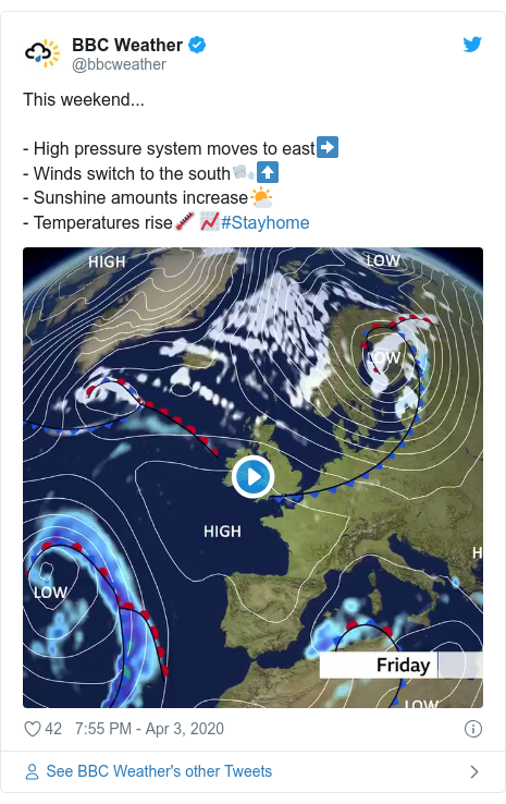 Twitter post by @bbcweather: This weekend...- High pressure system moves to east➡️- Winds switch to the south🌬️⬆️- Sunshine amounts increase🌤️- Temperatures rise🌡️📈#Stayhome
