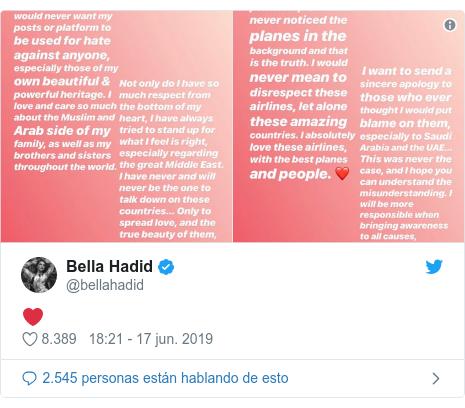 Publicación de Twitter por @bellahadid: ❤️