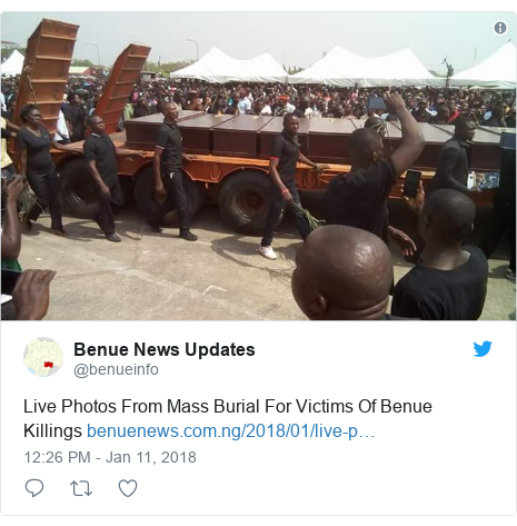 Twitter post by @benueinfo: Live Photos From Mass Burial For Victims Of Benue Killings