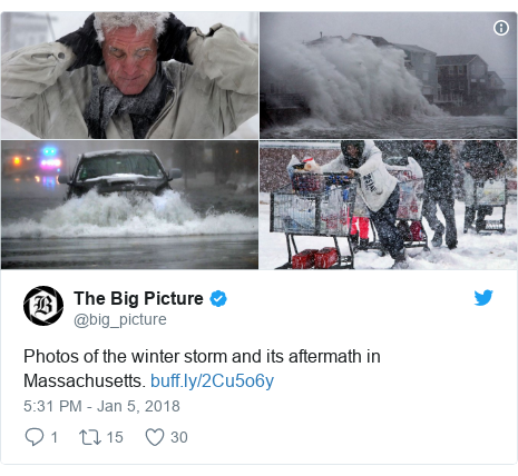 Twitter post by @big_picture: Photos of the winter storm and its aftermath in Massachusetts.