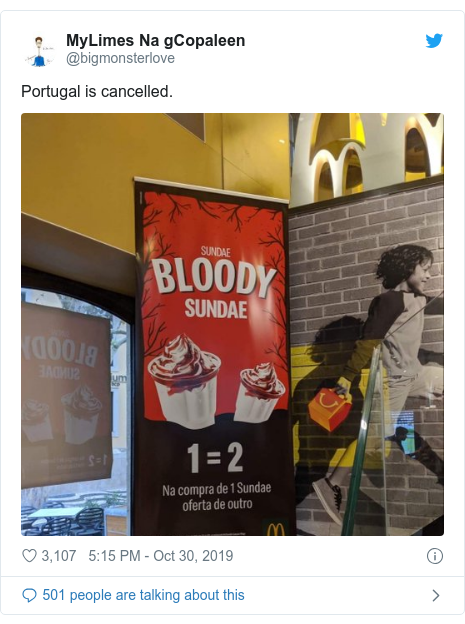 Twitter post by @bigmonsterlove: Portugal is cancelled.