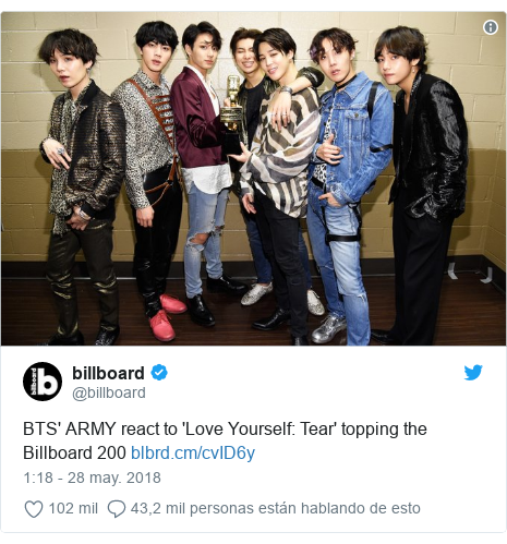 Publicación de Twitter por @billboard: BTS' ARMY react to 'Love Yourself  Tear' topping the Billboard 200