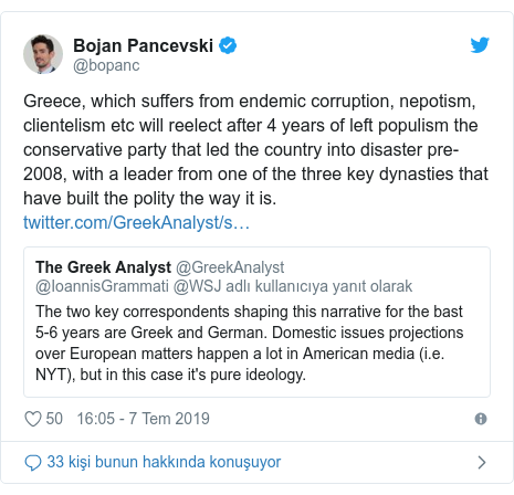 @bopanc tarafından yapılan Twitter paylaşımı: Greece, which suffers from endemic corruption, nepotism, clientelism etc will reelect after 4 years of left populism the conservative party that led the country into disaster pre-2008, with a leader from one of the three key dynasties that have built the polity the way it is.