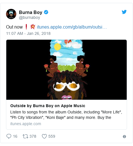 Twitter post by @burnaboy: Out now❗️💥