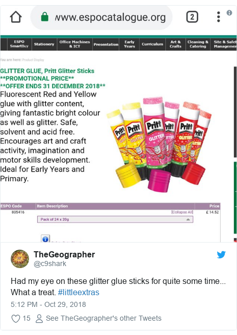 Twitter post by @c9shark: Had my eye on these glitter glue sticks for quite some time... What a treat. #littleextras