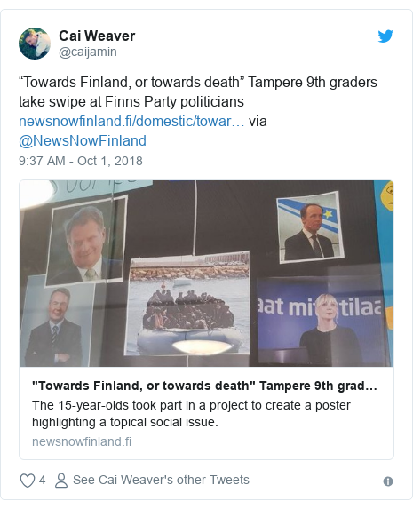 "Twitter post by @caijamin: ""Towards Finland, or towards death"" Tampere 9th graders take swipe at Finns Party politicians via @NewsNowFinland"