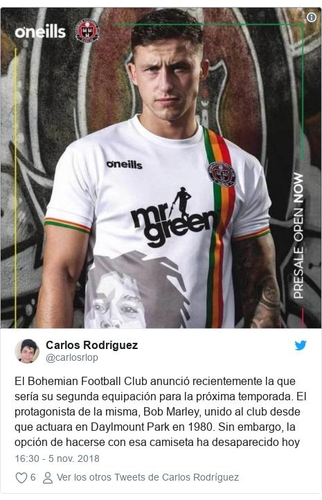 Publicación de Twitter por  carlosrlop  El Bohemian Football Club anunció  recientemente la que sería 6d820948745f1