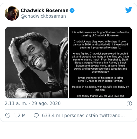 Publicación de Twitter por @chadwickboseman: