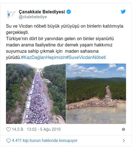 @ckalebelediye tarafından yapılan Twitter paylaşımı: Su ve Vicdan nöbeti büyük yürüyüşü on binlerin katılımıyla gerçekleşti.Türkiye'nin dört bir yanından gelen on binler siyanürlü maden arama faaliyetine dur demek yaşam hakkımız suyumuza sahip çıkmak için  maden sahasına yürüdü.#KazDağlarıHepimizin#SuveVicdanNöbeti