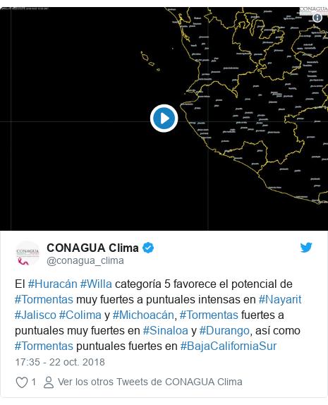 Publicación de Twitter por @conagua_clima: El #Huracán #Willa categoría 5 favorece el potencial de #Tormentas muy fuertes a puntuales intensas en #Nayarit #Jalisco #Colima y #Michoacán, #Tormentas fuertes a puntuales muy fuertes en #Sinaloa y #Durango, así como #Tormentas puntuales fuertes en #BajaCaliforniaSur