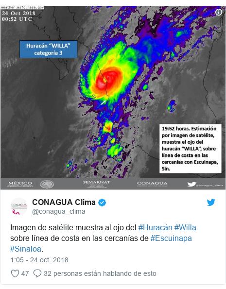Publicación de Twitter por @conagua_clima: Imagen de satélite muestra al ojo del #Huracán #Willa sobre línea de costa en las cercanías de #Escuinapa #Sinaloa.
