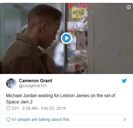 Twitter post by @coolghost101: Michael Jordan waiting for Lebron James on the set of Space Jam 2