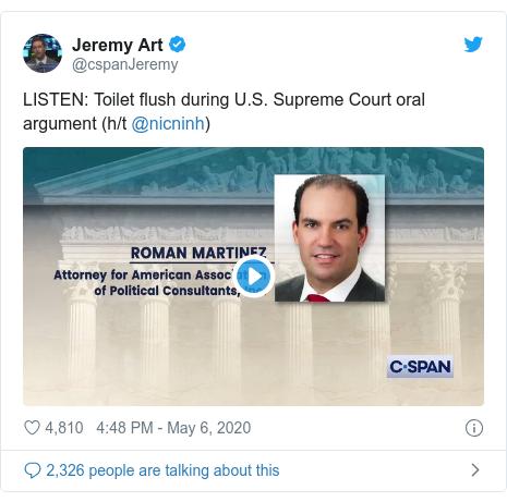 Twitter post by @cspanJeremy: LISTEN  Toilet flush during U.S. Supreme Court oral argument (h/t @nicninh)