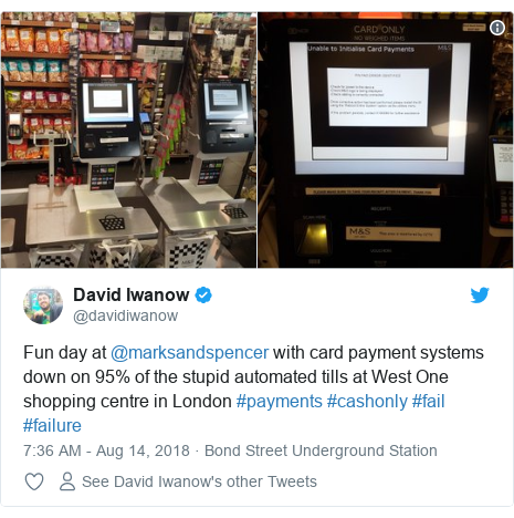 Card payment problems at marks spencer bbc news twitter post by davidiwanow fun day at marksandspencer with card payment systems down reheart Choice Image