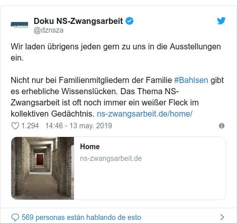 Publicación de Twitter por @dznsza: Wir laden übrigens jeden gern zu uns in die Ausstellungen ein. Nicht nur bei Familienmitgliedern der Familie #Bahlsen gibt es erhebliche Wissenslücken. Das Thema NS-Zwangsarbeit ist oft noch immer ein weißer Fleck im kollektiven Gedächtnis.