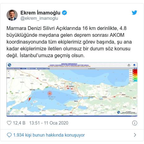 @ekrem_imamoglu tarafından yapılan Twitter paylaşımı: Marmara Denizi Silivri Açıklarında 16 km derinlikte, 4.8 büyüklüğünde meydana gelen deprem sonrası AKOM koordinasyonunda tüm ekiplerimiz görev başında, şu ana kadar ekiplerimize iletilen olumsuz bir durum söz konusu değil. İstanbul'umuza geçmiş olsun.