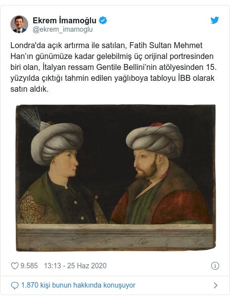 @ekrem_imamoglu tarafından yapılan Twitter paylaşımı: Londra'da açık artırma ile satılan, Fatih Sultan Mehmet Han'ın günümüze kadar gelebilmiş üç orijinal portresinden biri olan, İtalyan ressam Gentile Bellini'nin atölyesinden 15. yüzyılda çıktığı tahmin edilen yağlıboya tabloyu İBB olarak satın aldık.