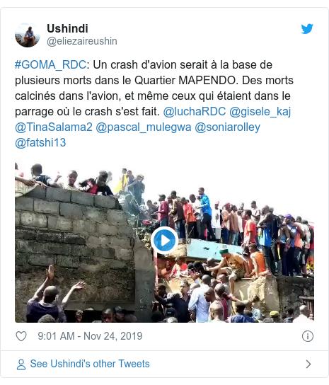 Twitter post by @eliezaireushin: #GOMA_RDC Un crash d'avion serait à la base de plusieurs morts dans le Quartier MAPENDO. Des morts calcinés dans l'avion, et même ceux qui étaient dans le parrage où le crash s'est fait. @luchaRDC @gisele_kaj @TinaSalama2 @pascal_mulegwa @soniarolley @fatshi13