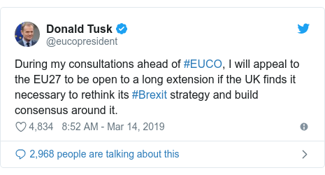 Twitter post by @eucopresident: During my consultations ahead of #EUCO, I will appeal to the EU27 to be open to a long extension if the UK finds it necessary to rethink its #Brexit strategy and build consensus around it.